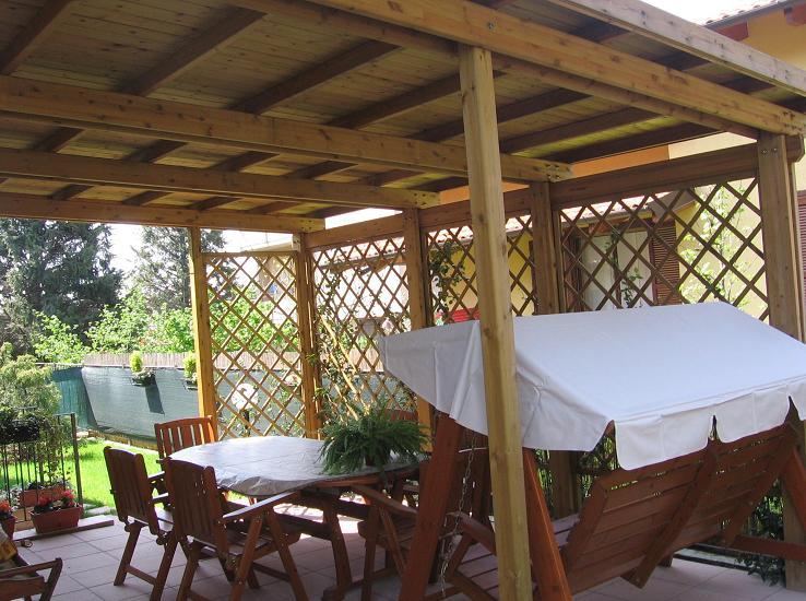 La tartaruga pergolati addossati in legno la tartaruga for Costruire una tettoia addossata