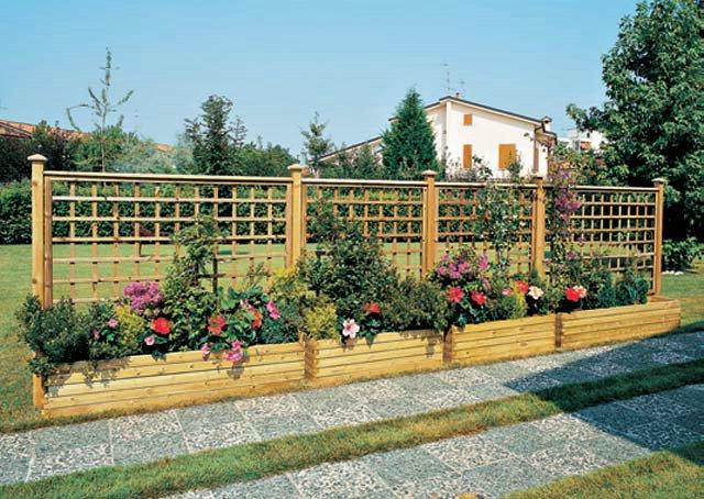 Fioriere grigliati su misura e lavori speciali in legno la tartaruga - Fioriere in legno per giardino ...